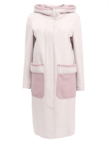 Шерстяное розовое пальто с капюшоном с воротником на кнопках Lorena Antoniazzi