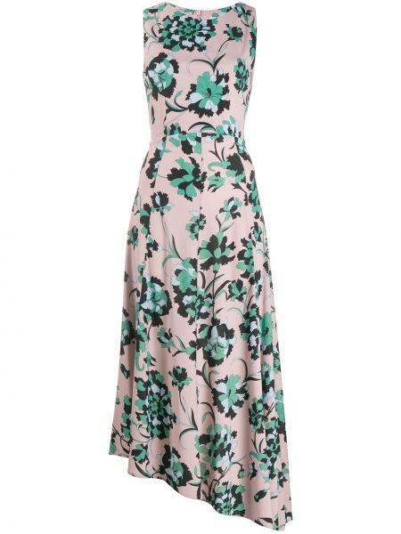 Приталенное розовое платье на молнии без рукавов La Doublej