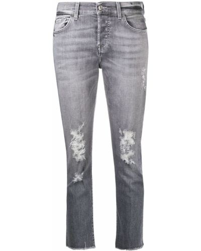 Хлопковые облегающие серые укороченные джинсы 7 For All Mankind