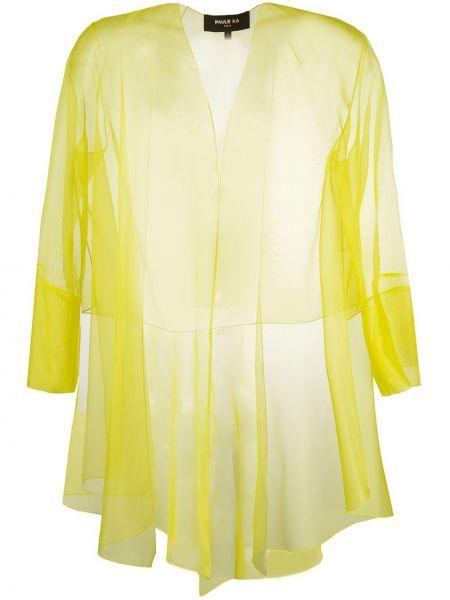 Асимметричный с рукавами шелковый желтый удлиненный пиджак Paule Ka
