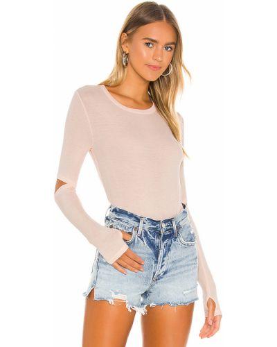 Prążkowany różowy t-shirt Michael Lauren