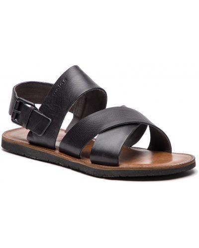 Sandały skórzany czarny Wojas