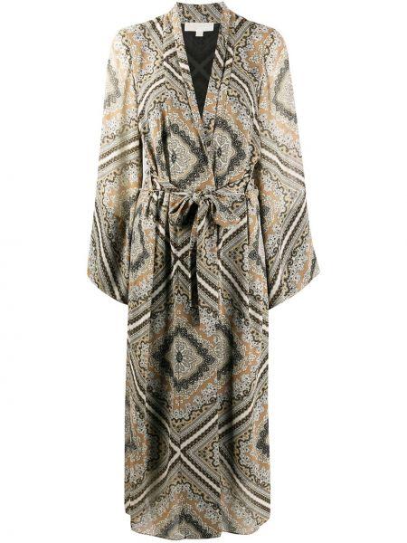 Коричневое длинное пальто с поясом с лацканами Michael Michael Kors
