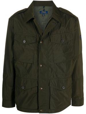 Zielony długa kurtka z mankietami z kieszeniami z długimi rękawami Polo Ralph Lauren