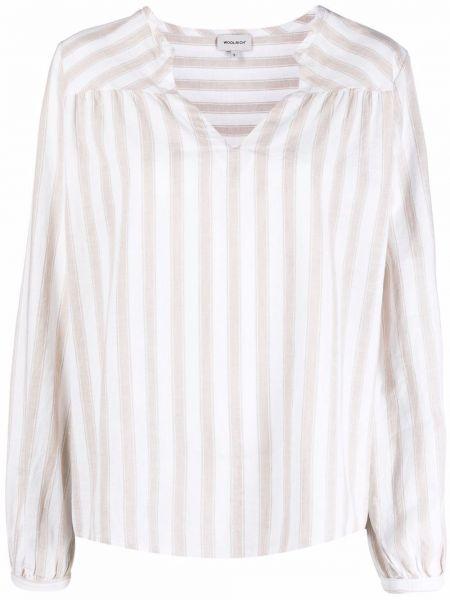 Белая блузка в полоску с длинными рукавами Woolrich