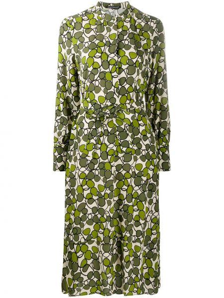 Платье миди в цветочный принт - зеленое Luisa Cerano