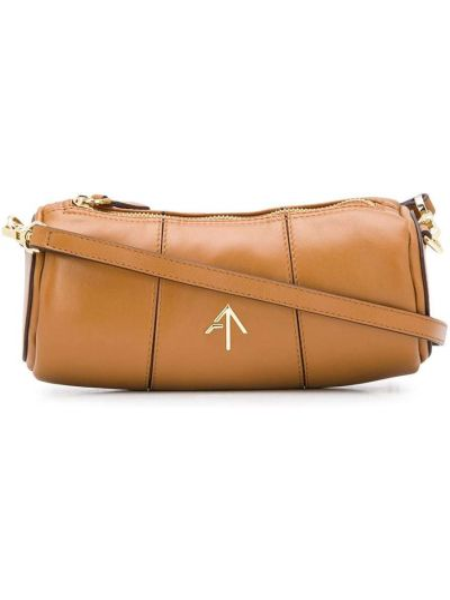 Золотистая коричневая сумка на плечо металлическая на молнии Manu Atelier