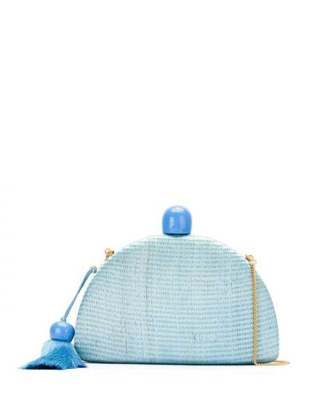 Синяя соломенная маленькая сумка Isla