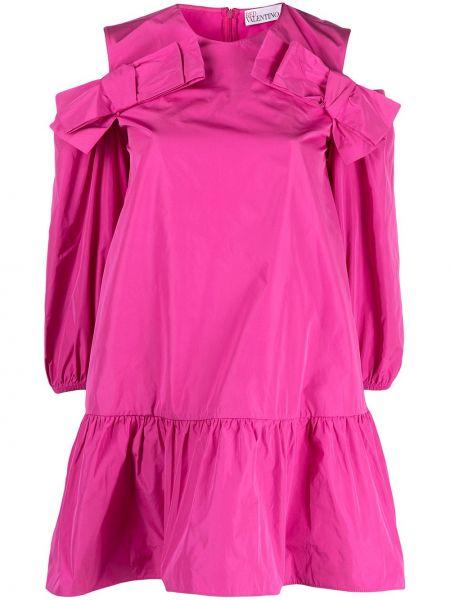 С рукавами розовое платье А-силуэта круглое Red Valentino