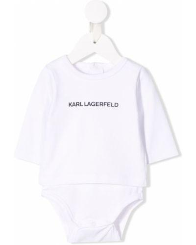 Хлопковое белое боди с длинными рукавами на кнопках с вырезом Karl Lagerfeld Kids