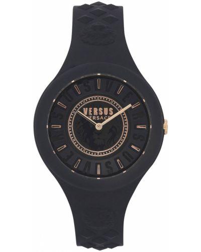 Czarny zegarek kwarcowy z paskiem Versus Versace