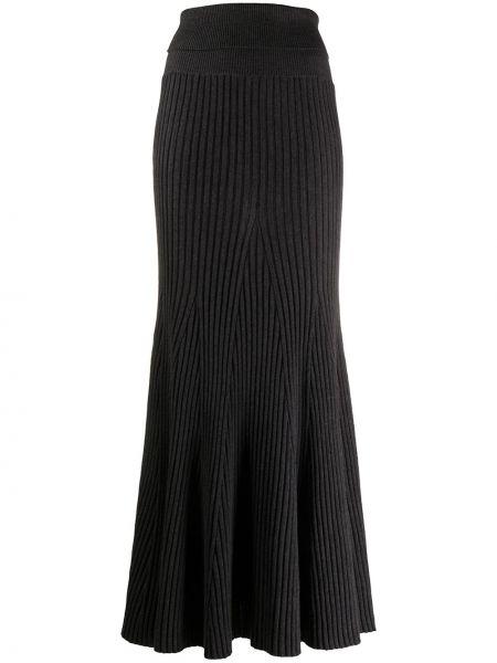 Шерстяная серая с завышенной талией юбка годе в рубчик Kenzo