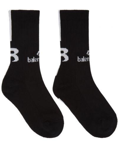 Bawełna czarny wysoki skarpety rozciągać z mankietami Balenciaga