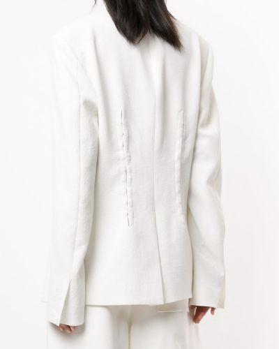 Однобортный белый удлиненный пиджак с воротником Dion Lee