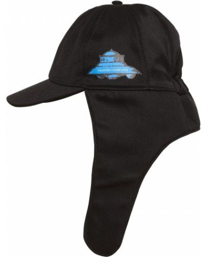 Czarny kapelusz wełniany z siateczką Valentino