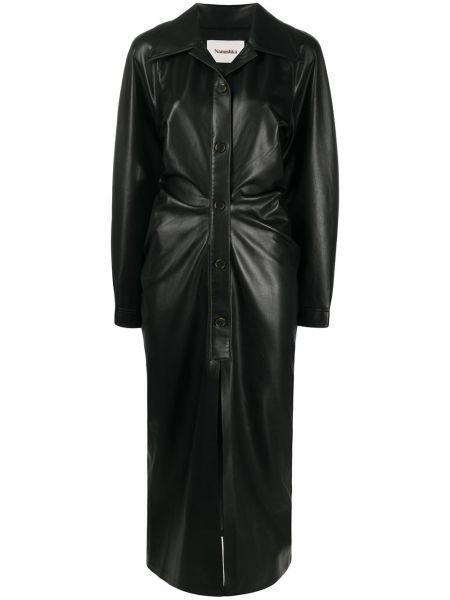 Кожаное черное платье миди с длинными рукавами Nanushka