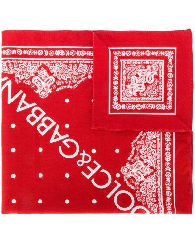 Красный хлопковый шарф в горошек Dolce & Gabbana