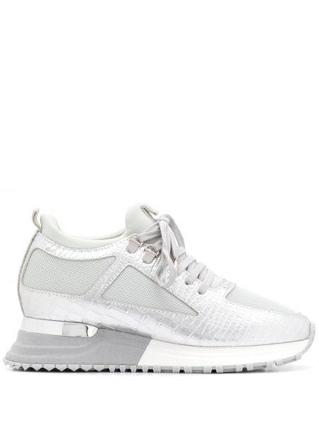 Серебряные кроссовки на платформе из крокодила Mallet Footwear