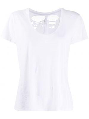 Хлопковая белая футболка с короткими рукавами с вырезом Unravel Project