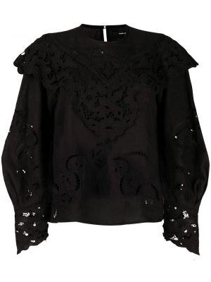 Льняная черная кружевная блузка Isabel Marant
