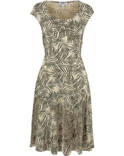 Бежевое трикотажное платье Bonprix