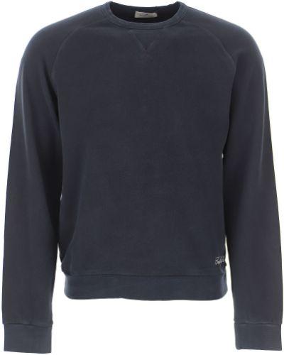 Bluza długa bawełniana z długimi rękawami granatowa Brooksfield