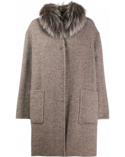 Коралловое шерстяное длинное пальто Manzoni 24