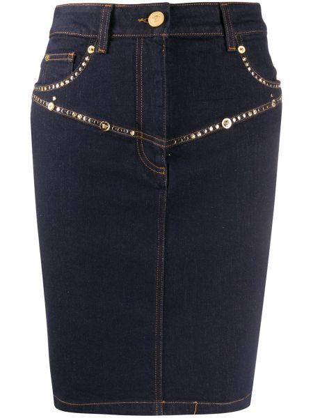 Джинсовая юбка на пуговицах карандаш Versace