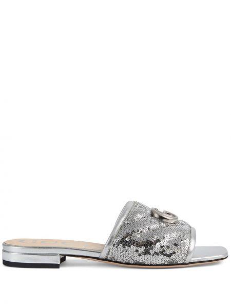 Srebro otwarty skórzany sandały otwarty palec u nogi Gucci