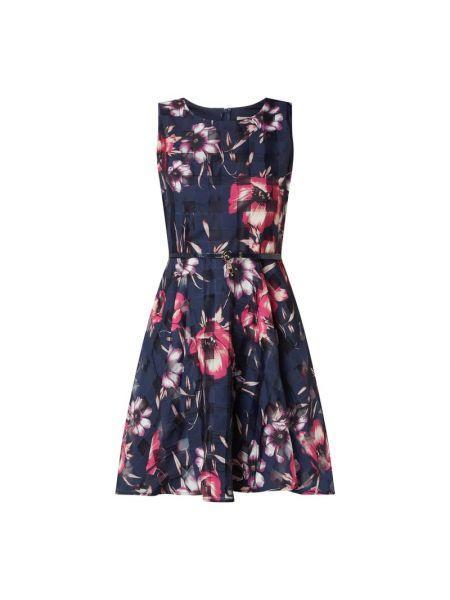 Niebieska sukienka rozkloszowana z paskiem Apricot