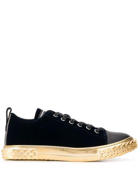 Ażurowy czarny włókienniczy sneakersy z łatami Giuseppe Zanotti