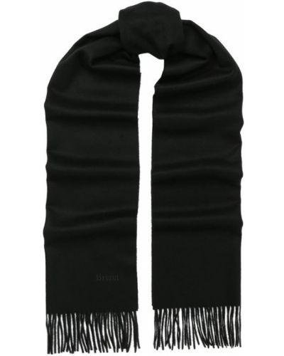 Черный шарф с бахромой Brioni