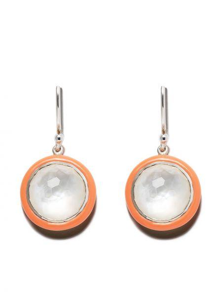 Оранжевые серебряные серьги с подвесками на крючках Ippolita