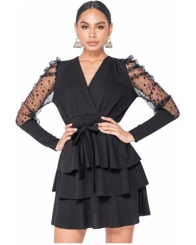 Czarna sukienka kopertowa Parisian