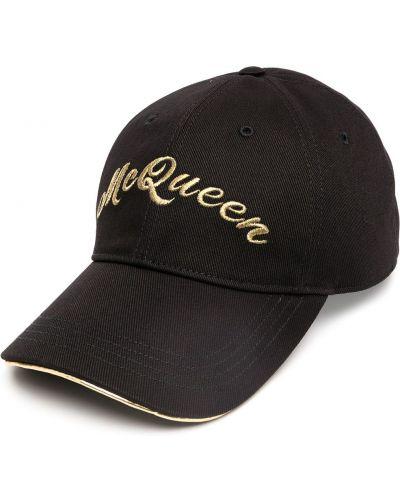 Bawełna czarny czapka z daszkiem z haftem metal Alexander Mcqueen