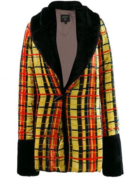 Желтая длинное пальто из искусственного меха с вырезом Jean Paul Gaultier Pre-owned
