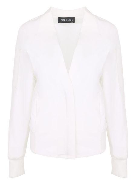 С рукавами белый пиджак с карманами с вырезом Damir Doma
