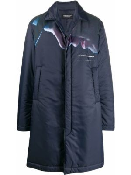 Niebieski płaszcz z długimi rękawami z printem Undercover