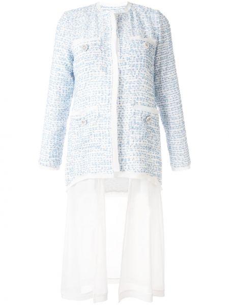 Синий удлиненный пиджак твидовый с карманами Edward Achour Paris