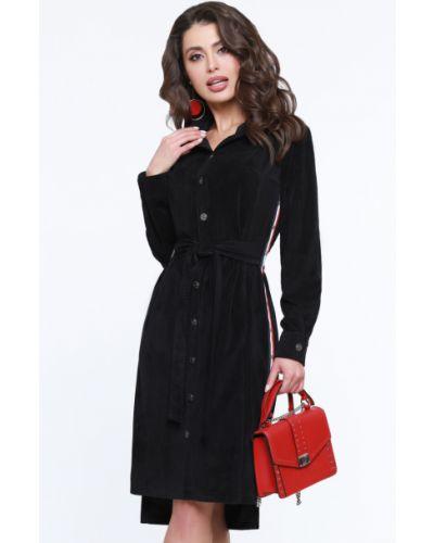 С рукавами модное платье миди с поясом Dstrend