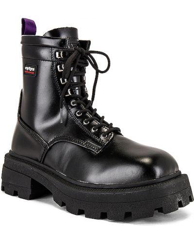 Czarny buty skórzane zasznurować na klinie z prawdziwej skóry Eytys