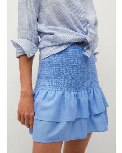 Niebieska spódniczka mini Mango