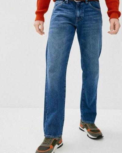 Хлопковые синие прямые джинсы Mavi