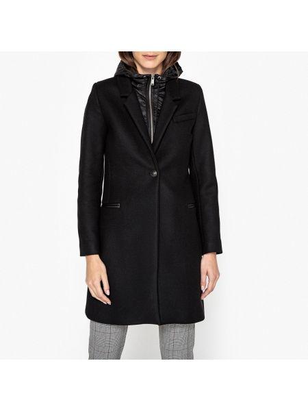 Шерстяное пальто с капюшоном с воротником на молнии айвори Ikks