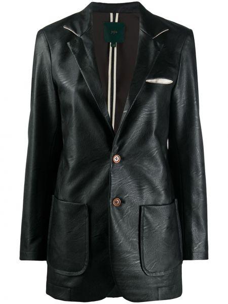 Однобортный черный кожаный удлиненный пиджак Jejia