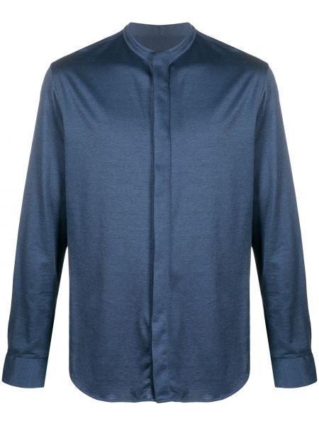 Синяя с рукавами рубашка с воротником-стойка Giorgio Armani