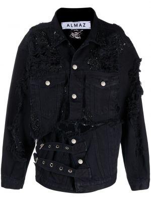 Черная джинсовая куртка с воротником с карманами Almaz