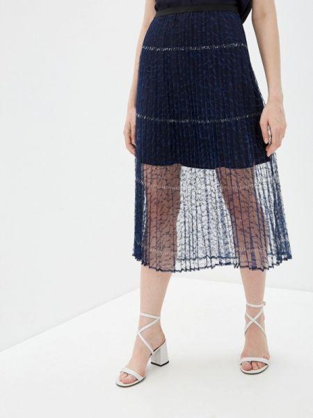 Плиссированная юбка синяя французский French Connection