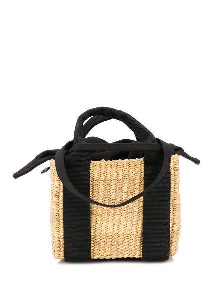 Хлопковая соломенная сумка с ручками круглая с завязками Muun
