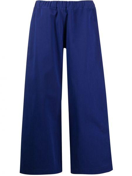 Хлопковые синие расклешенные укороченные брюки с поясом Sofie D'hoore